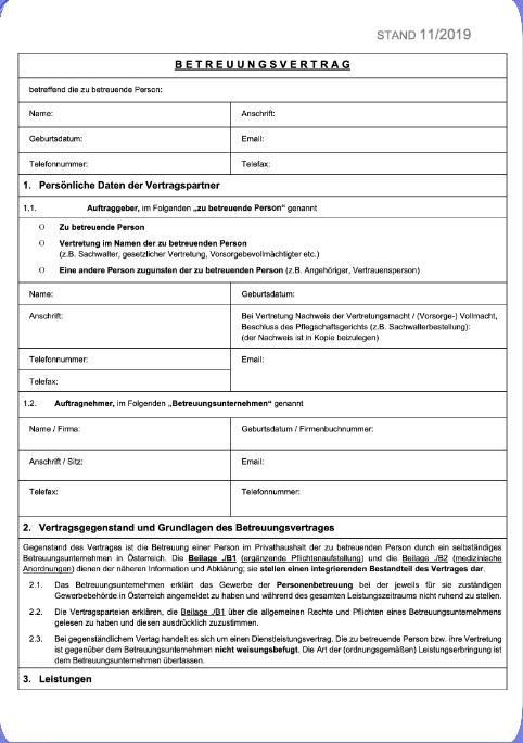 Betreuungsvertrag für 24-Stunden-Betreuung